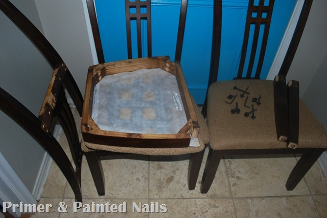 Dining Chairs Before - Primer & Painted Nails (2)