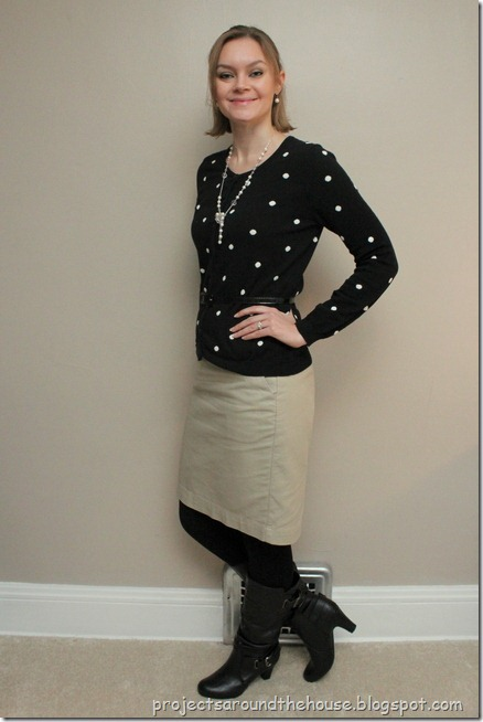 black and white polka dots, camel skirt