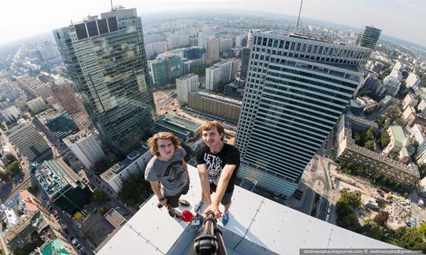no telhado no centro de Varsóvia