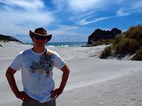 Tourist am Nordzipfel der Südinsel