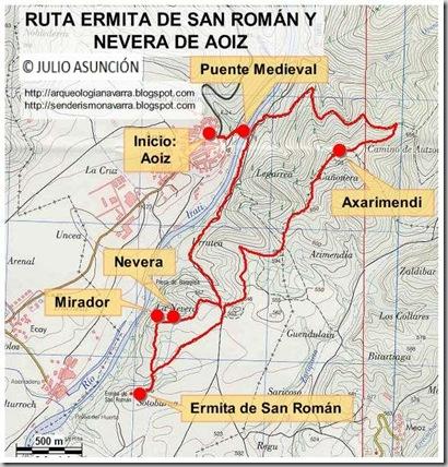 Mapa ruta ermita de San Román y nevera de Aoiz
