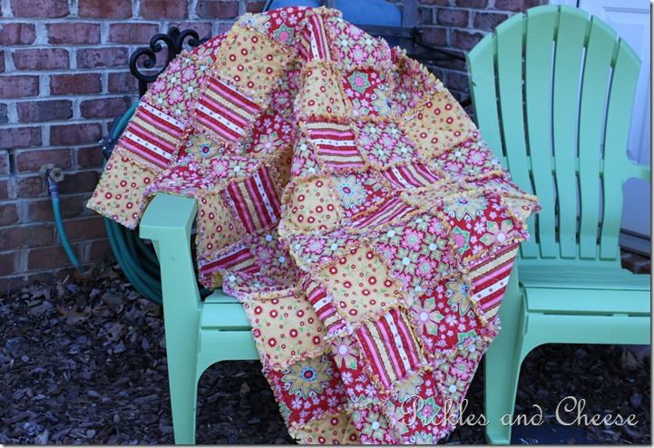 Rag Quilt Yellow and Red 064