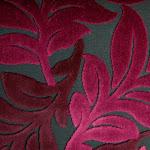 Tkanina obiciowa, trudnopalna. Pluszowa. Motyw roślinny - liście. Różowa.