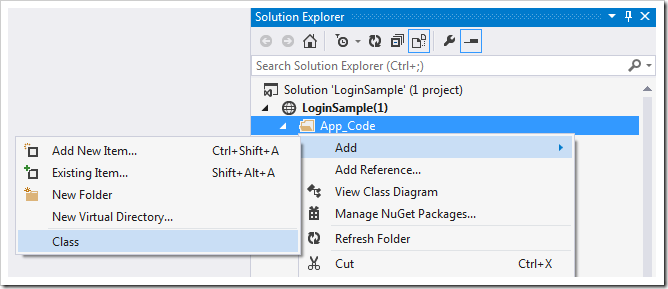 Adding a class to the application using Visual Studio.