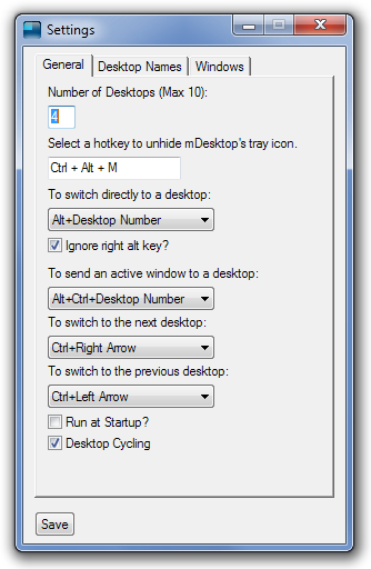 mDesktop Settings