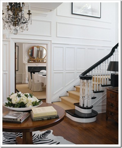 staircase with detailed moldings