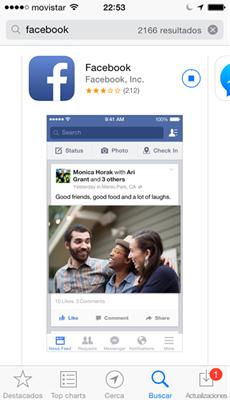Descargar aplicación de Facebook en iPhone