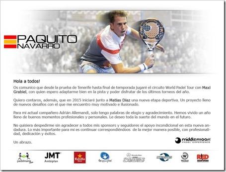 Paquito Navarro jugará con Maxi Grabiel hasta final de temporada y en 2015 lo hará con Matías Díaz. Comunicado Oficial.