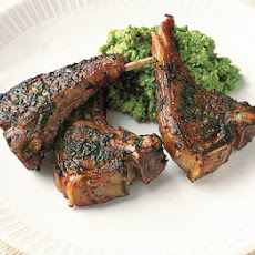 Balsamic Lamb Chops With Pea Purée