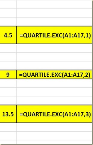 Variation in Excel - Quartiles Close-up