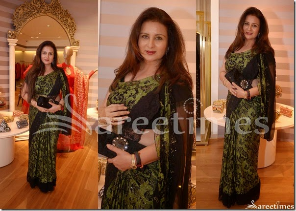 Poonam_Dhillon_Black_Embellished_Net_Saree