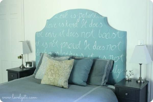 DIY upholstered headboard with meaning