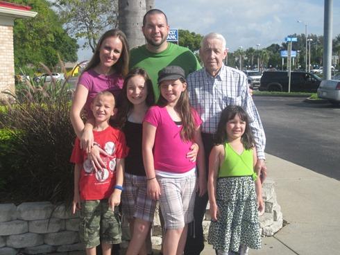 Visiting Great-Grandpa Gayheart in Tampa, Florida.
