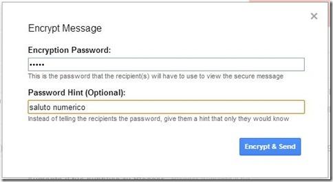 Secure Gmail settare password criptazione email