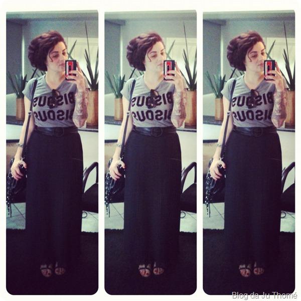 look camiseta miss melon BISOU BISOU e saia longa plissada