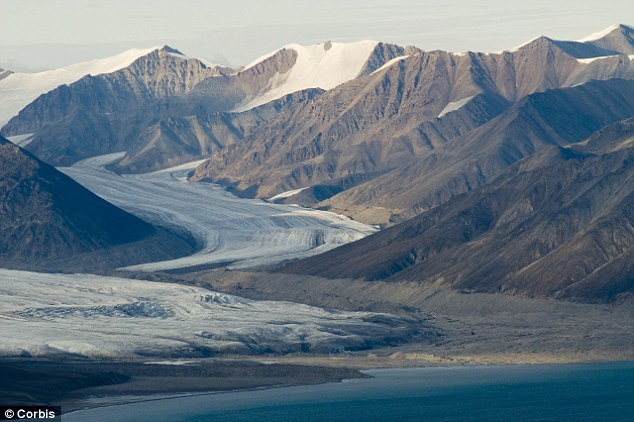 A glacier on Bylot Island, Canada. Melting permafrosts such as these threaten to release billions of tons of greenhouse gases into the atmosphere, accelerating climate change, a new USGS study has warned. Corbis