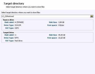 Sélection du répertoire des fichiers restaurés pour réparer un CD ou DVD endommagé