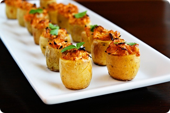 Artichoke Stuffed Baked Potato Bites