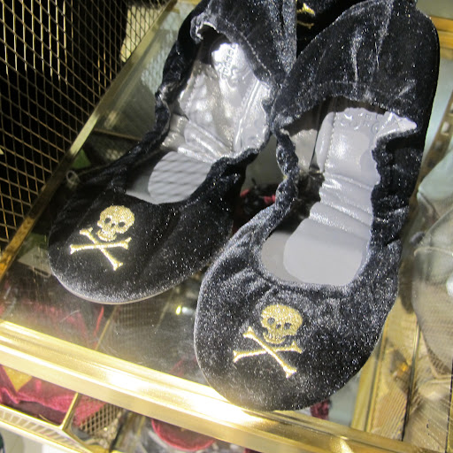 Our intern loved these skull and crossbones velvet ballet slippers.