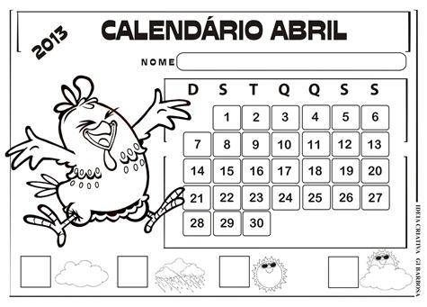 calendário abril 2013 galinha pintadinha sem numeração
