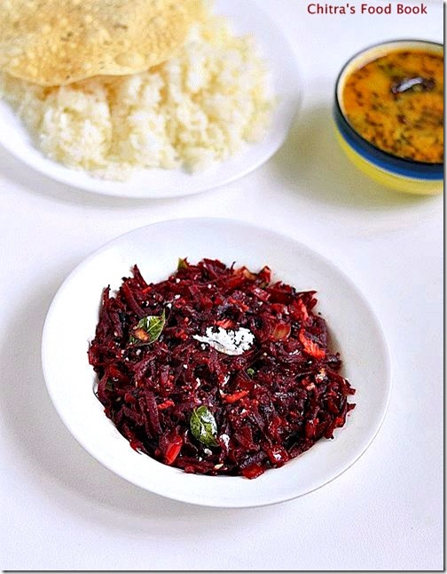 Easy beetroot poriyal