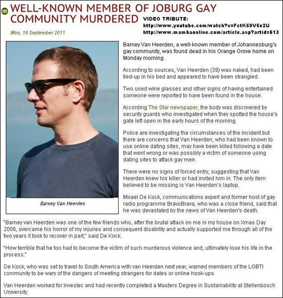 VAN HEERDEN BARNEY gay Afrikaner man murdered Orange Grove home 19Sept2011