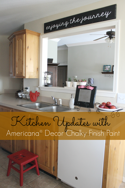 Kitchen Updates with Americana Decor Chalky Finish Paint from GingerSnapCrafts.com #spon
