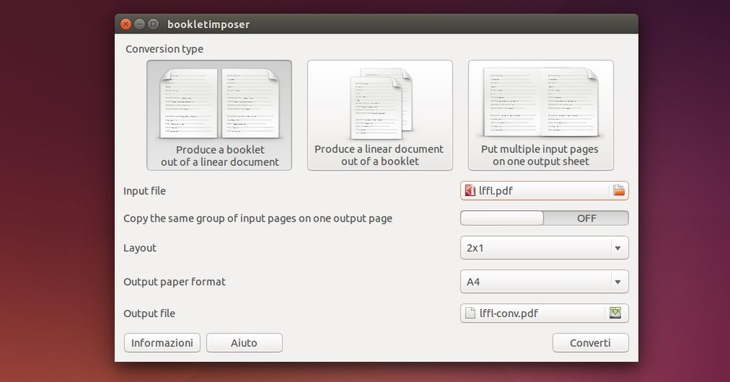 Bookletimposer in Ubuntu Linux