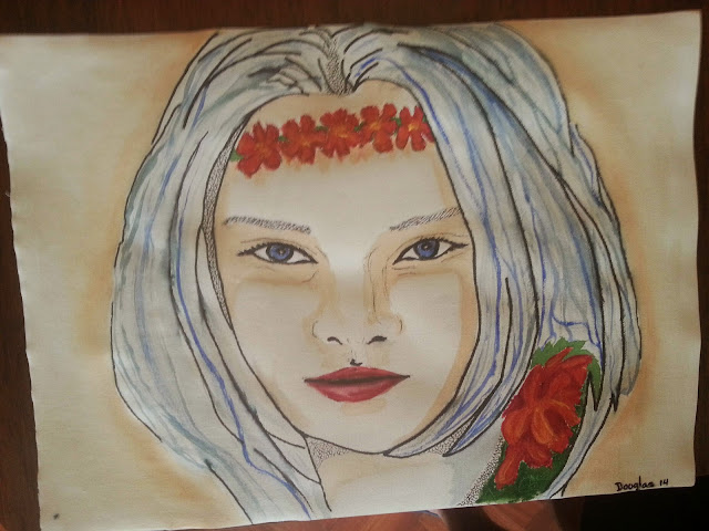 Chica con flores.... Douglas Chadiz.