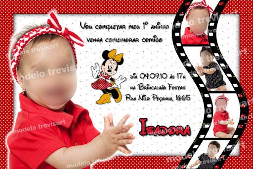 Convite Personalizado  Convite   Foto  Convite Minnie  Disney