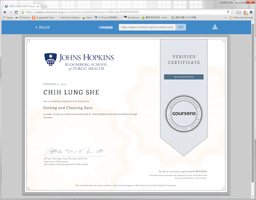 Getting and Cleaning Data Johns Hopkins University Verified Certificate