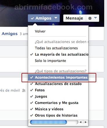 Cómo ordenar las publicaciones y actualizaciones de mis contactos de Facebook