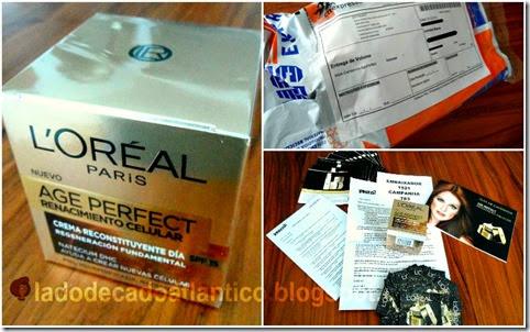 Imagem do mosaico com as fotos do pack recebido pelo correio contendo o kit Age Perfect de L'Oréal Paris, enviado por Youzz.net