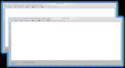 KDE 4.10 - integrazione dei pulsanti della finestra e titolo nel menu di Kate