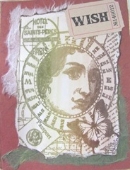 butterfly woman collage stamped card1