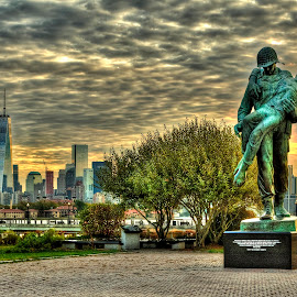 Liberation by Gary Aidekman - Buildings & Architecture Statues & Monuments ( liberation, statue, park, liberty state park, sunrise, holocaust, jersey city, new jersey )