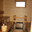 Sauna is essential part of Finnish bath culture. The modern electric sauna of Minkiö workshop building.