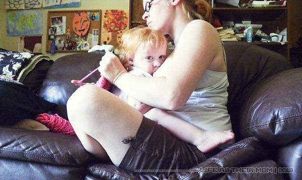knitting and nursing - life as their mom