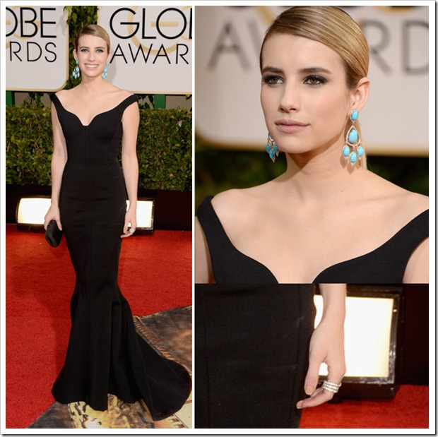 Emma Roberts wearing turquoise chandelier earrings