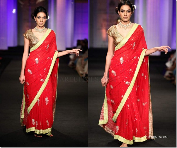 meera musaffar ali_red_saree
