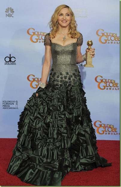Madonna&#39;s dark green Reem Acra chain mail and taffeta