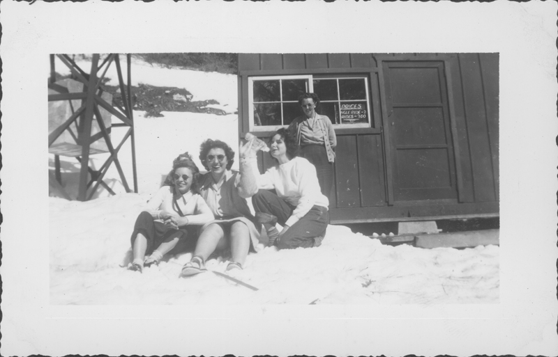 Esther Herbert and friends at Lake Arrowhead on a weekend trip. April 1944.