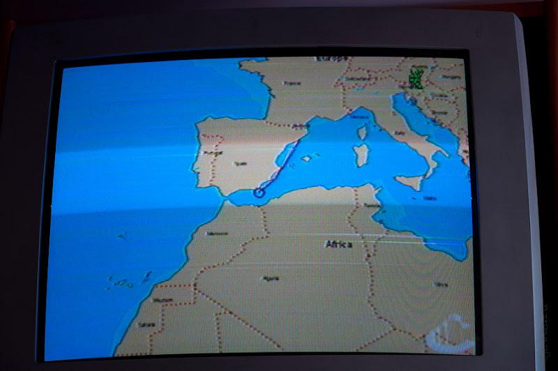 Первый день в круизе на Costa Concordia. Информационный канал в каюте. Весь путь пройденный от крайнего порта.