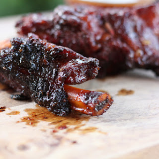 Smoky Beef Ribs with Sriracha BBQ Beer Sauce