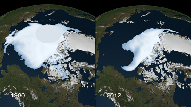 Satellite view of Arctic sea ice minimum in 1980 and 2012. Photo: NASA