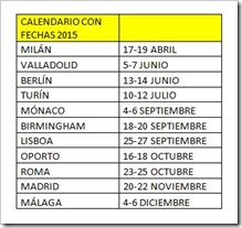 Calendario INTERNATIONAL PADEL EXPERIENCE ADIDAS BY MADISON 2015