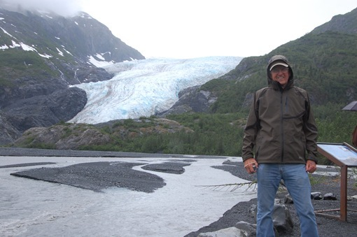 husband in new coat Exit Glacier