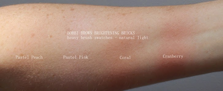 BobbiBrown-Brightening-Bricks-swatches-PastelPeach-PastelPink-Coral-Cranberry-review