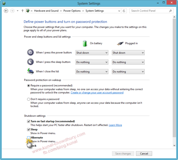 In Windows 8 Power Options System Settings, Choose Change Settings select the Hibernate check box