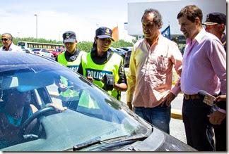 El gobernador Daniel Scioli junto al intendente de La Costa, Juan Pablo de Jesús en el acceso de Santa Teresita